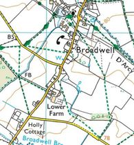 A map showing the immediate environs of the road through Broadwell
